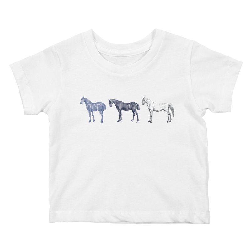 Hold Your Horses blue Kids Baby T-Shirt by Mitchell Black's Artist Shop