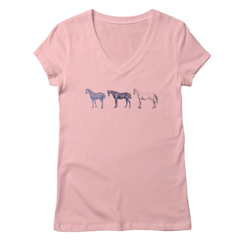 Hold Your Horses blue Women's Regular V-Neck by Mitchell Black's Artist Shop