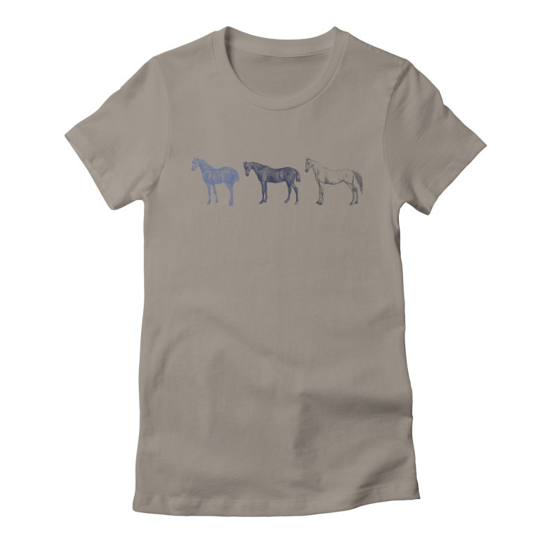 Hold Your Horses blue Women's Fitted T-Shirt by Mitchell Black's Artist Shop