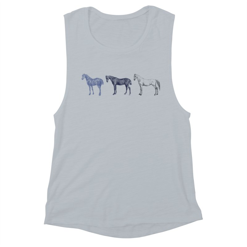 Hold Your Horses blue Women's Muscle Tank by Mitchell Black's Artist Shop