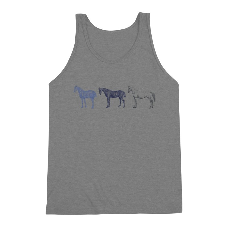 Hold Your Horses blue Men's Triblend Tank by Mitchell Black's Artist Shop