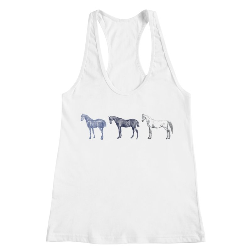 Hold Your Horses blue Women's Racerback Tank by Mitchell Black's Artist Shop