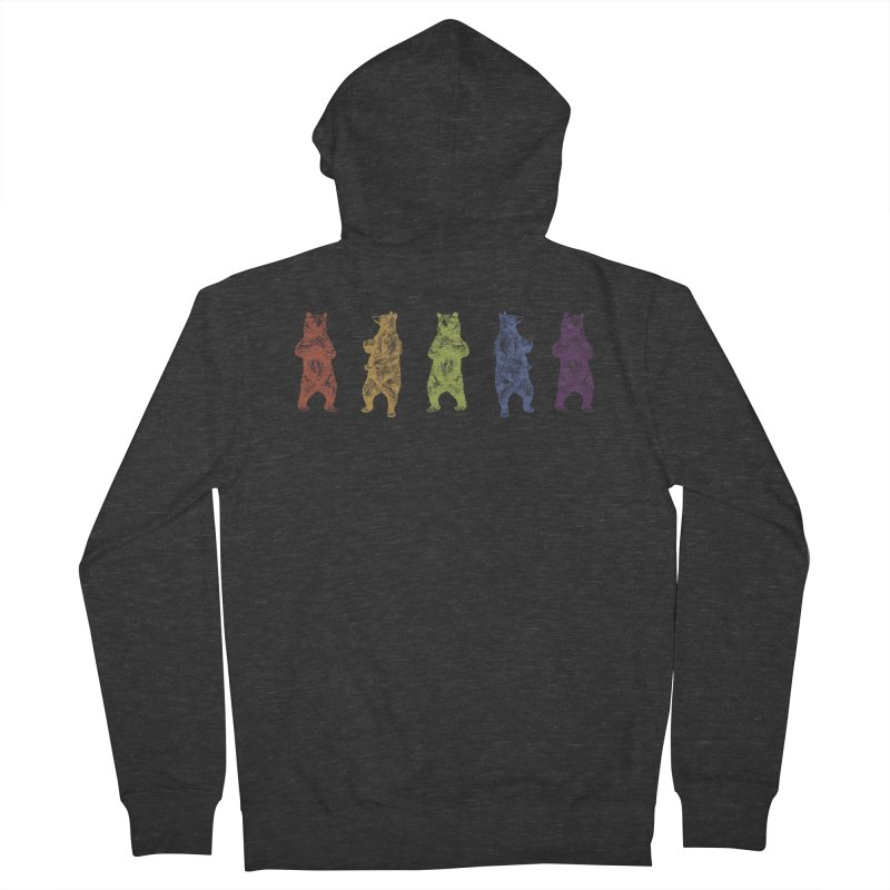 Dancing Rainbow Bears Men's French Terry Zip-Up Hoody by Mitchell Black's Artist Shop