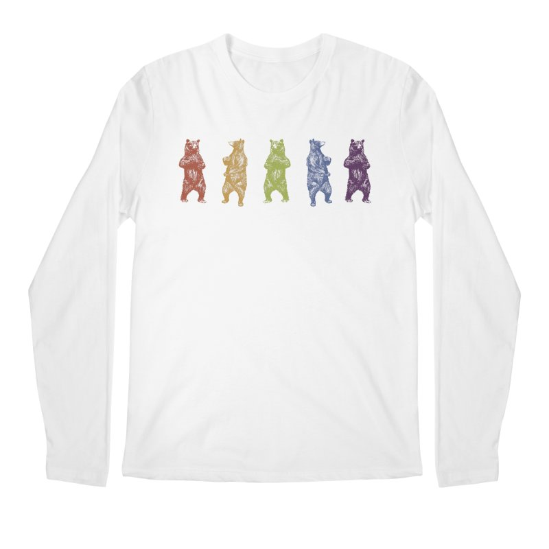 Dancing Rainbow Bears Men's Longsleeve T-Shirt by Mitchell Black's Artist Shop