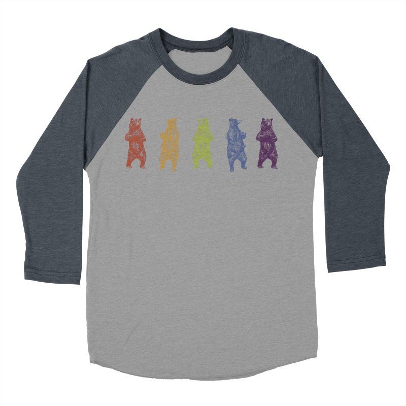 Dancing Rainbow Bears Men's Baseball Triblend T-Shirt by Mitchell Black's Artist Shop