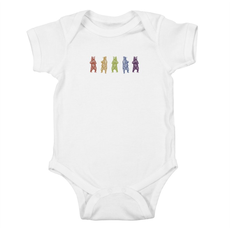 Dancing Rainbow Bears Kids Baby Bodysuit by Mitchell Black's Artist Shop