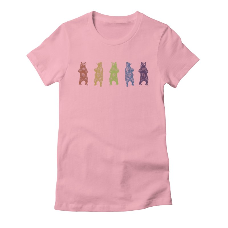 Dancing Rainbow Bears Women's Fitted T-Shirt by Mitchell Black's Artist Shop