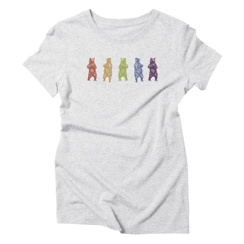Dancing Rainbow Bears Women's Triblend T-Shirt by Mitchell Black's Artist Shop