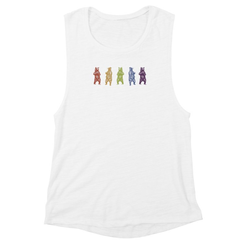 Dancing Rainbow Bears Women's Muscle Tank by Mitchell Black's Artist Shop