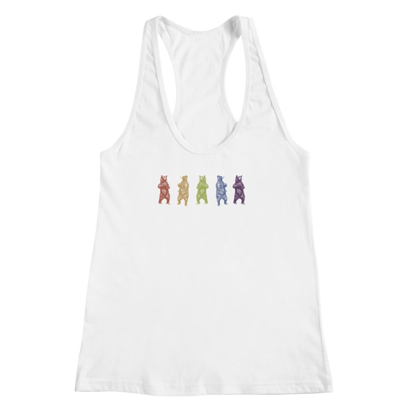 Dancing Rainbow Bears Women's Racerback Tank by Mitchell Black's Artist Shop
