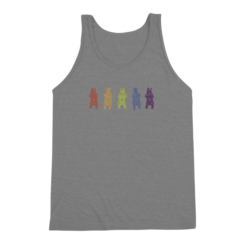 Dancing Rainbow Bears Men's Triblend Tank by Mitchell Black's Artist Shop