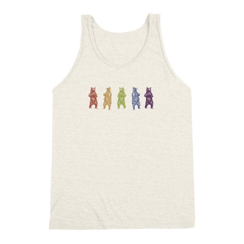 Dancing Rainbow Bears Men's Triblend Tank by Mitchell Black's Artist Shop