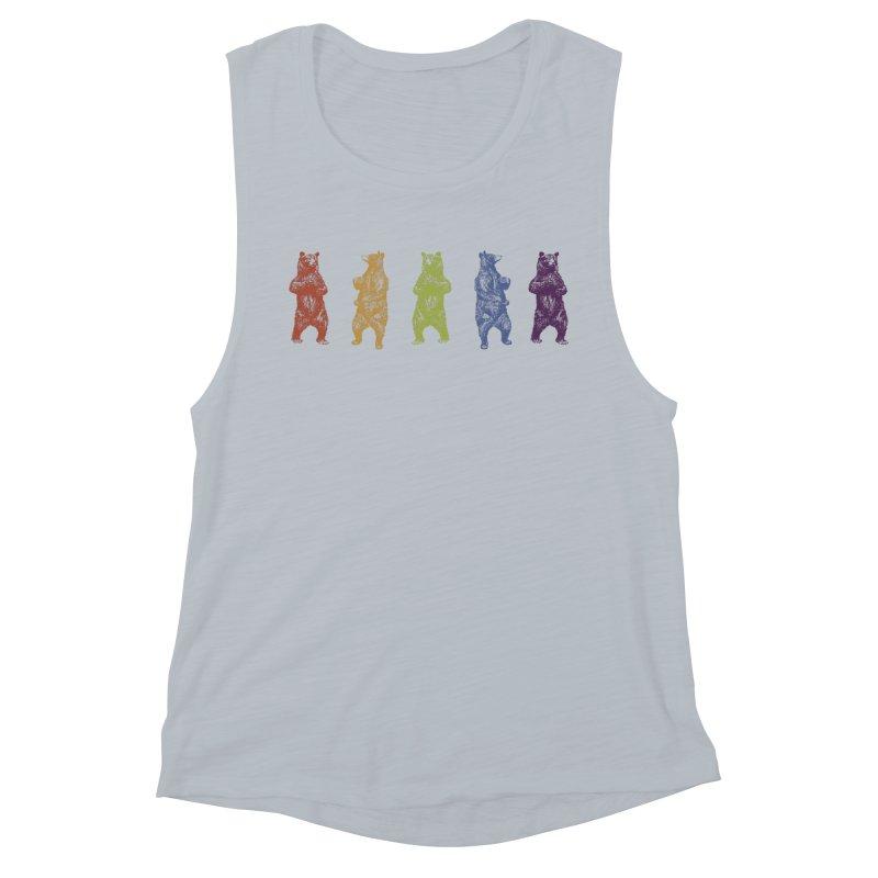 Dancing Rainbow Bears Women's Muscle Tank by Mitchell Black's Artist Shop