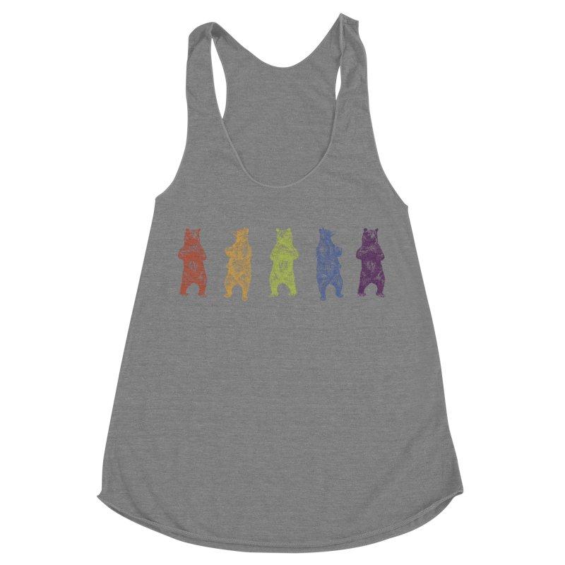 Dancing Rainbow Bears Women's Racerback Triblend Tank by Mitchell Black's Artist Shop