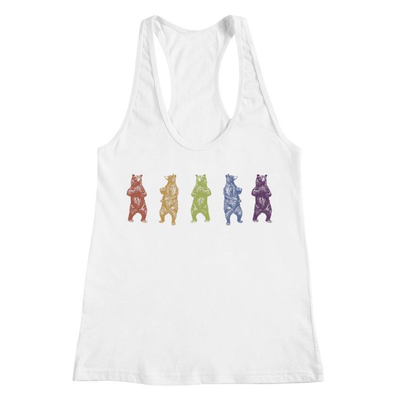 Dancing Rainbow Bears Women's Racerback Tank by Mitchell Black's Artist Shop