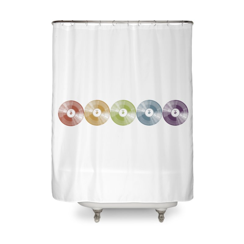 Put a Record On Home Shower Curtain by Mitchell Black's Artist Shop