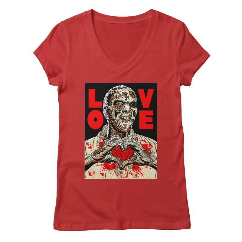 Zombie Love Women's Regular V-Neck by Mitch O'Connell