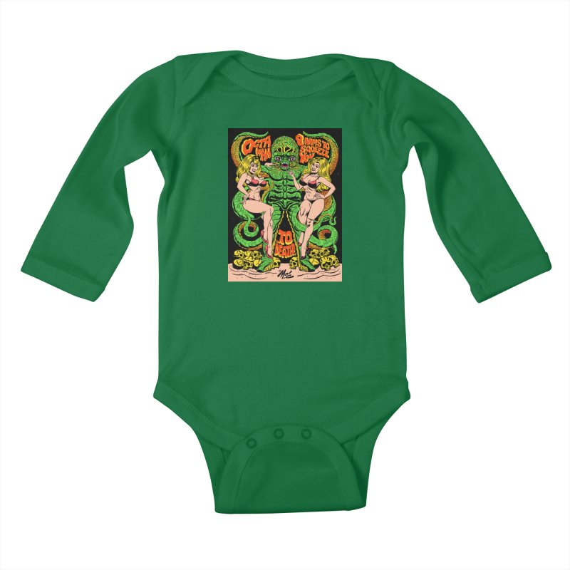 Octaman! Kids Baby Longsleeve Bodysuit by Mitch O'Connell