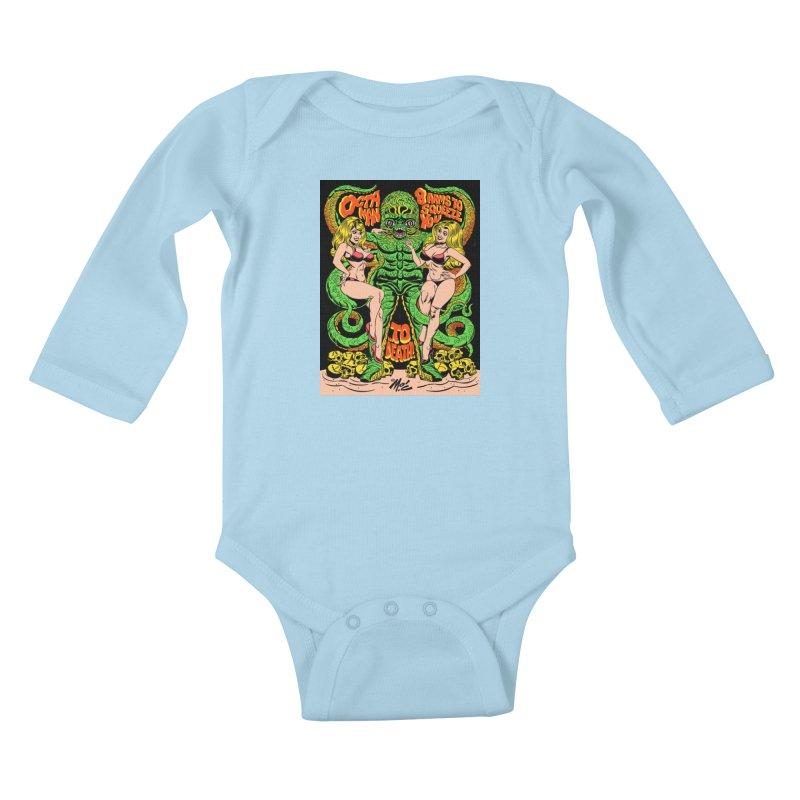 Octaman! Kids Baby Longsleeve Bodysuit by Mitch O'Connell
