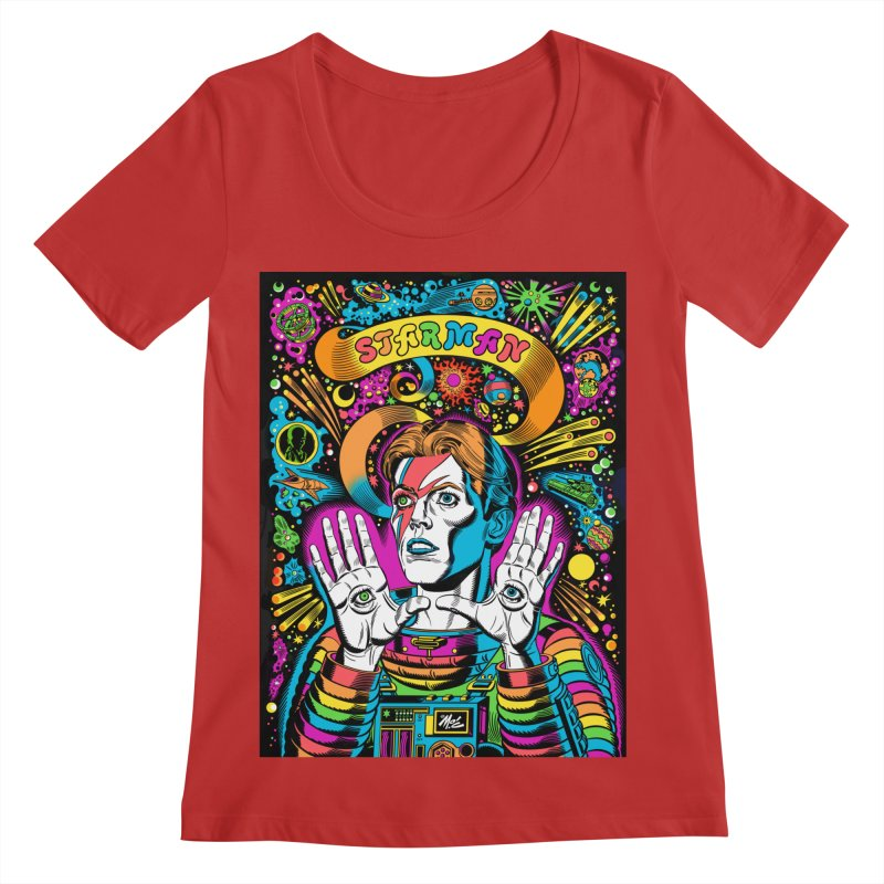 Starman! Women's Regular Scoop Neck by Mitch O'Connell