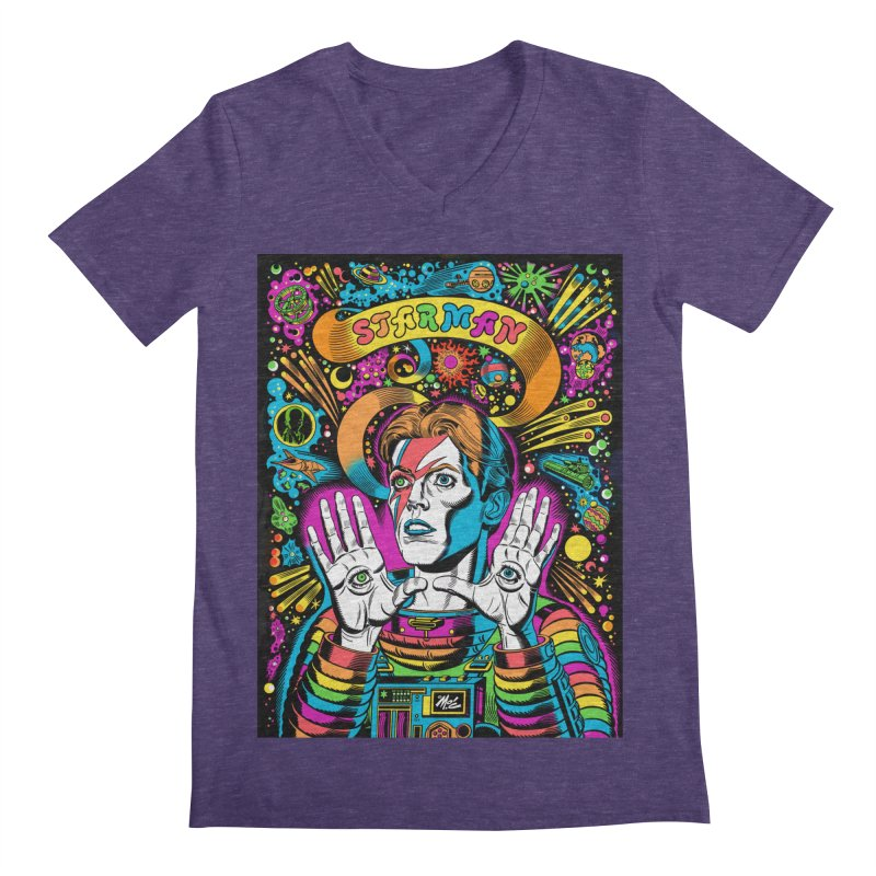 Starman! Men's Regular V-Neck by Mitch O'Connell