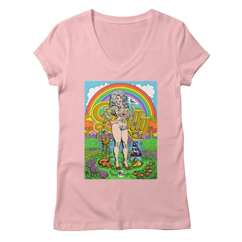 Tattooed Dolly! Women's Regular V-Neck by Mitch O'Connell