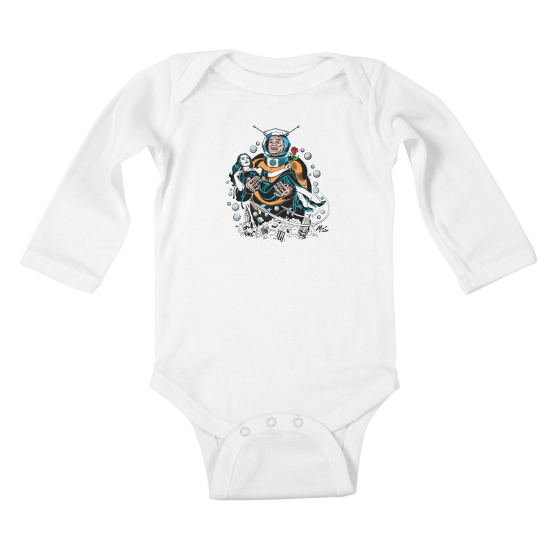 When A Ro-Man Loves A Wo-Man! Kids Baby Longsleeve Bodysuit by Mitch O'Connell