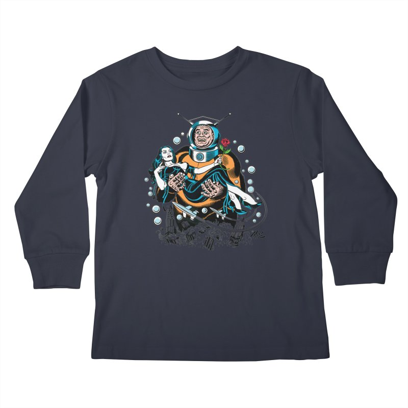 When A Ro-Man Loves A Wo-Man! Kids Longsleeve T-Shirt by Mitch O'Connell