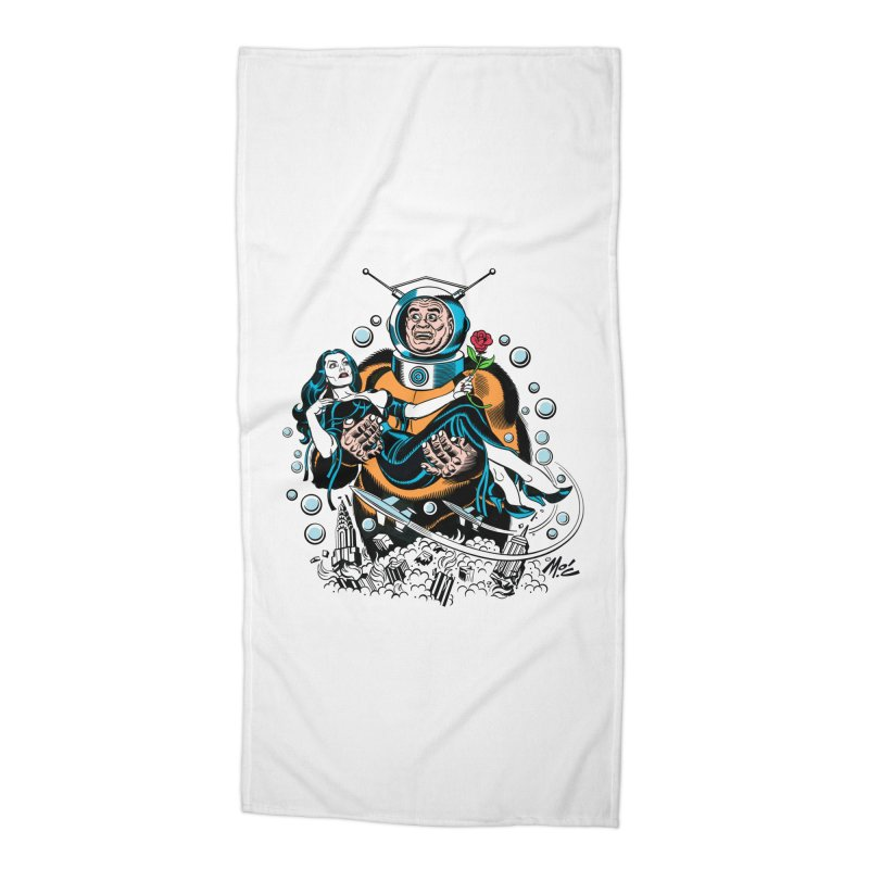 When A Ro-Man Loves A Wo-Man! Accessories Beach Towel by Mitch O'Connell