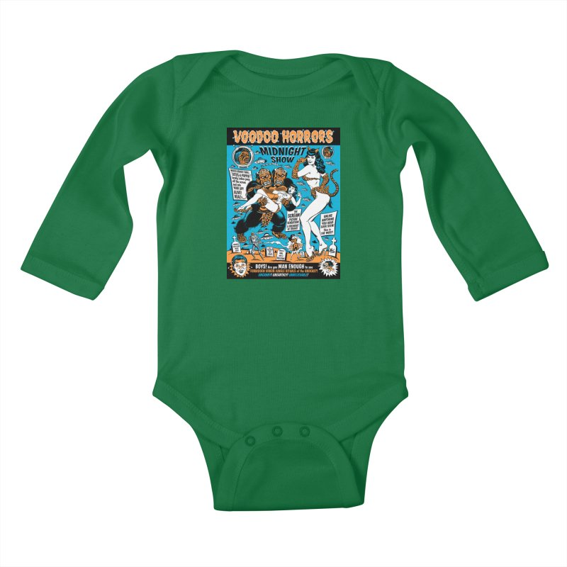 Voodoo Spookshow! Kids Baby Longsleeve Bodysuit by Mitch O'Connell