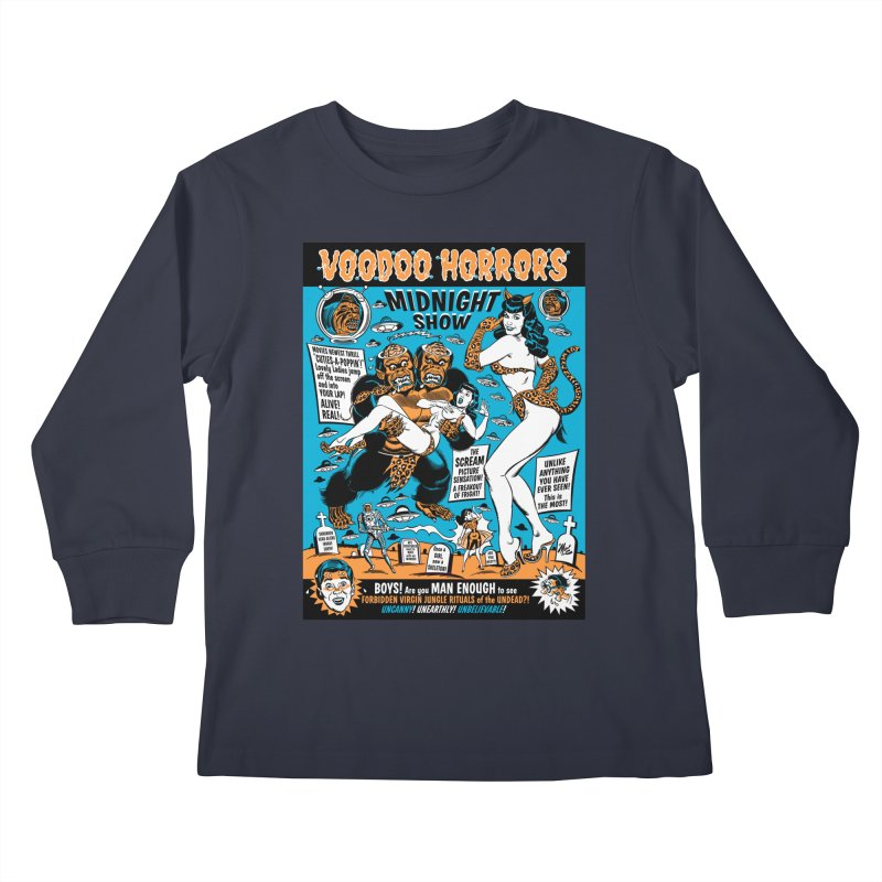 Voodoo Spookshow! Kids Longsleeve T-Shirt by Mitch O'Connell