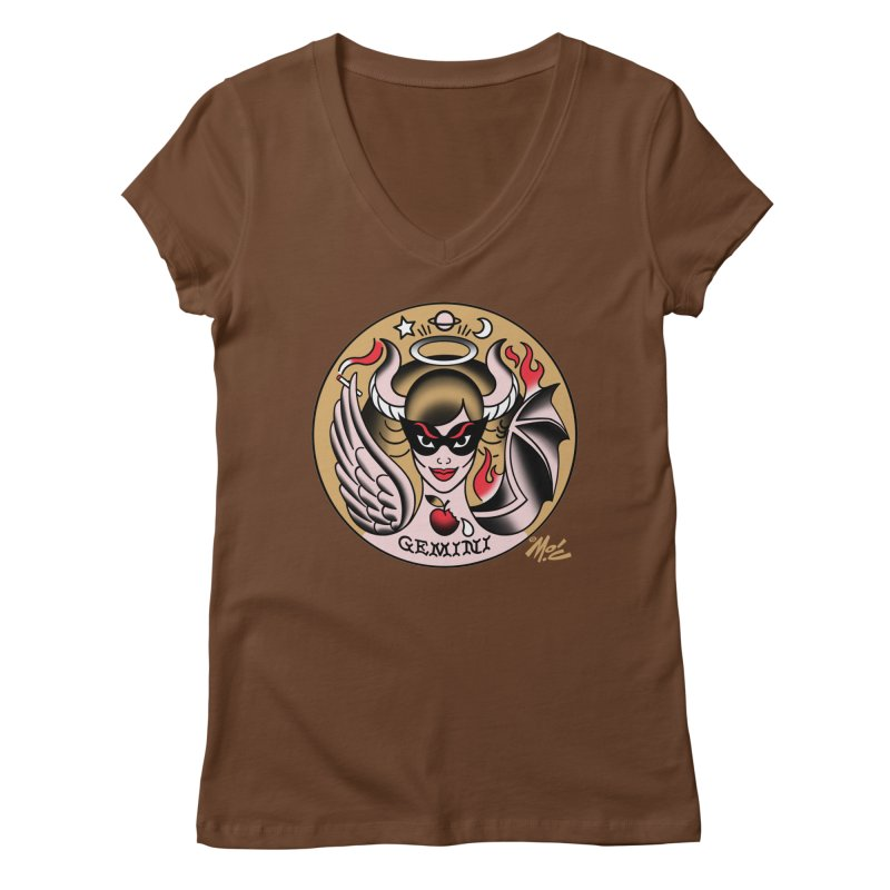 GEMINI! Women's V-Neck by Mitch O'Connell