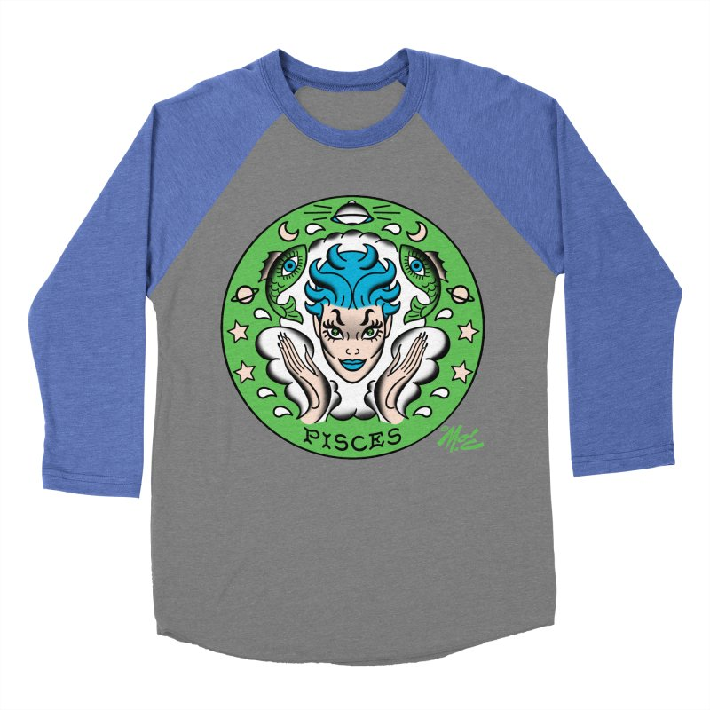 PISCES! Women's Baseball Triblend T-Shirt by Mitch O'Connell