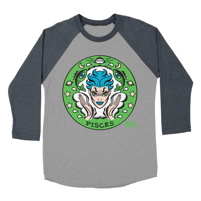 PISCES! Men's Baseball Triblend T-Shirt by Mitch O'Connell