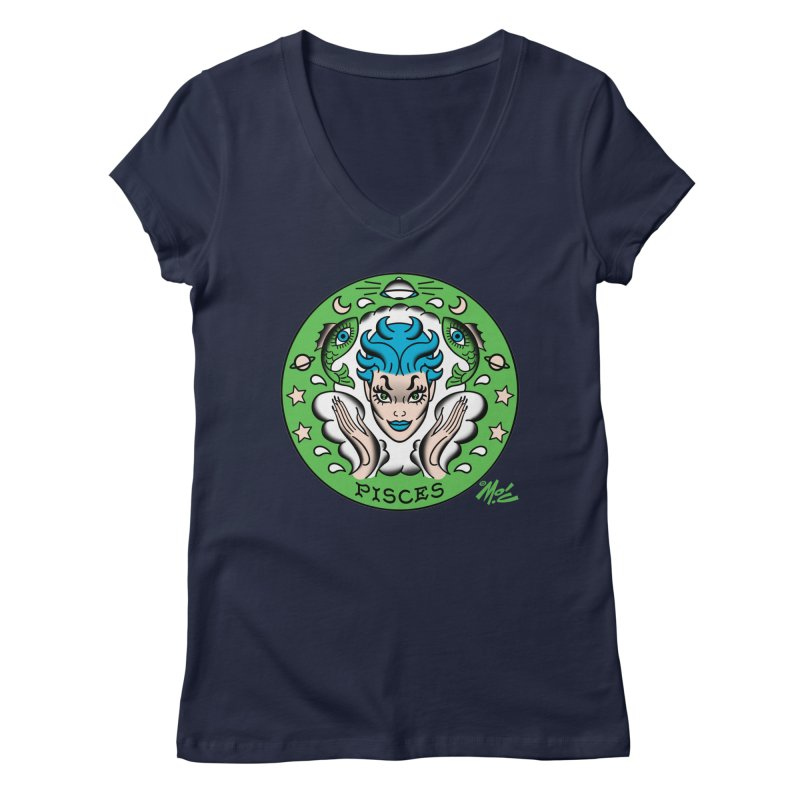 PISCES! Women's V-Neck by Mitch O'Connell