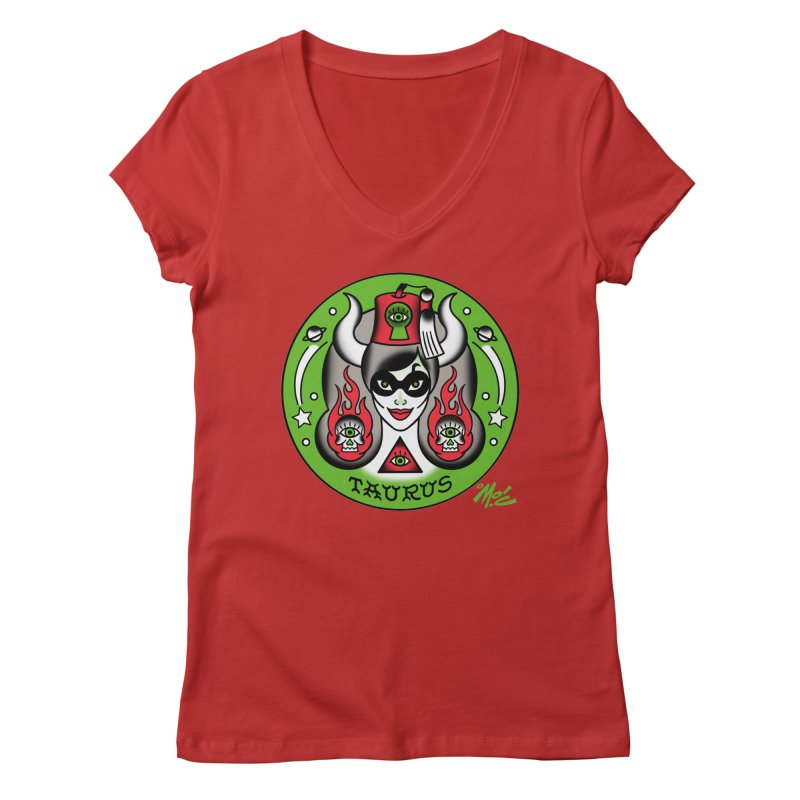 TAURUS! Women's V-Neck by Mitch O'Connell