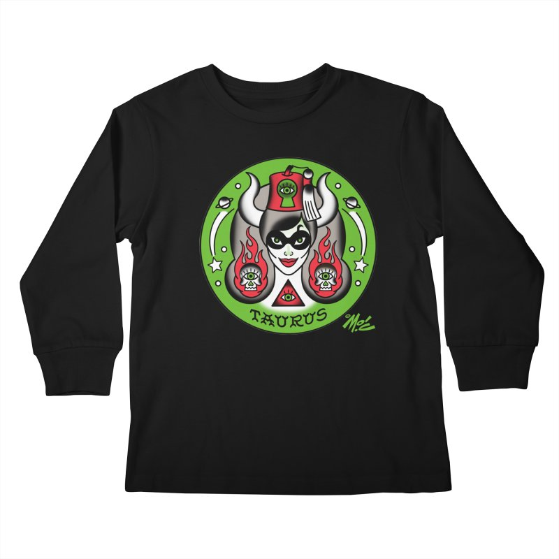 TAURUS! Kids Longsleeve T-Shirt by Mitch O'Connell