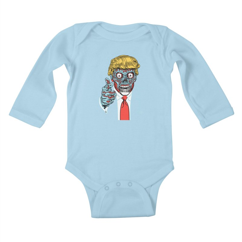 'Trump/They Live' Classic! Kids Baby Longsleeve Bodysuit by Mitch O'Connell