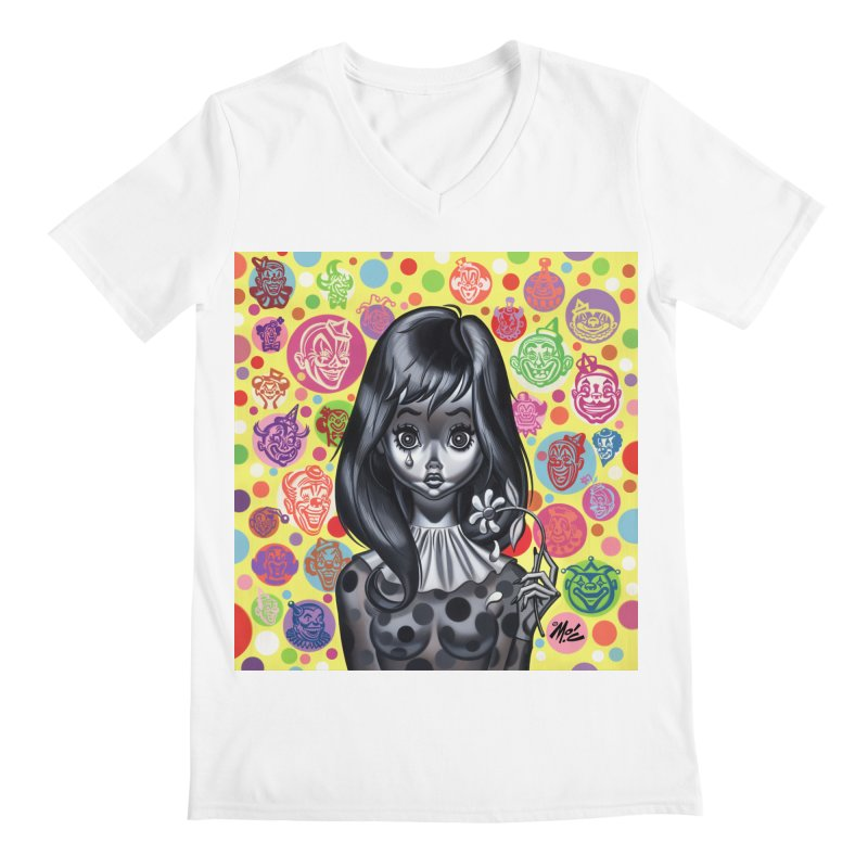 Clown Girl Men's V-Neck by Mitch O'Connell