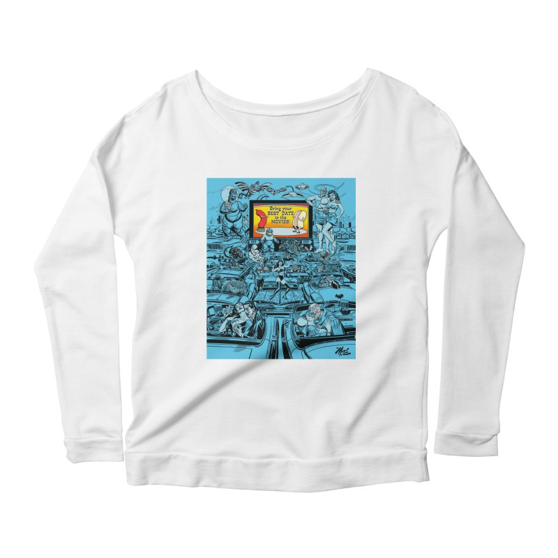 Take Your Best Date to the Movies! Women's Longsleeve Scoopneck  by Mitch O'Connell