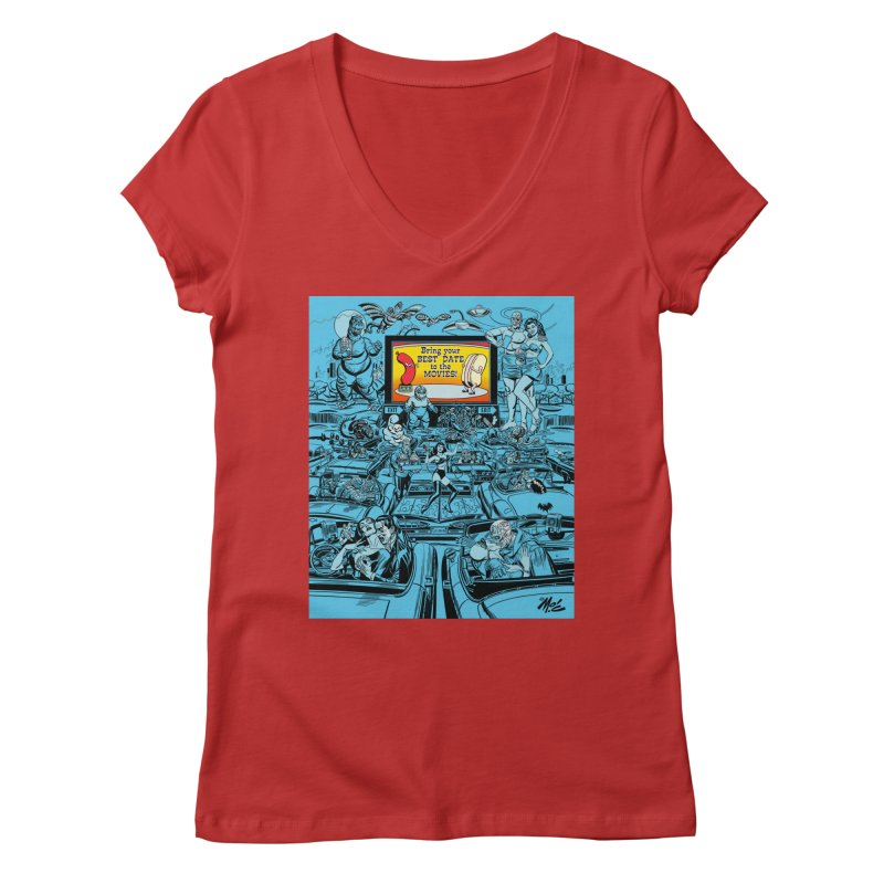 Take Your Best Date to the Movies! Women's V-Neck by Mitch O'Connell