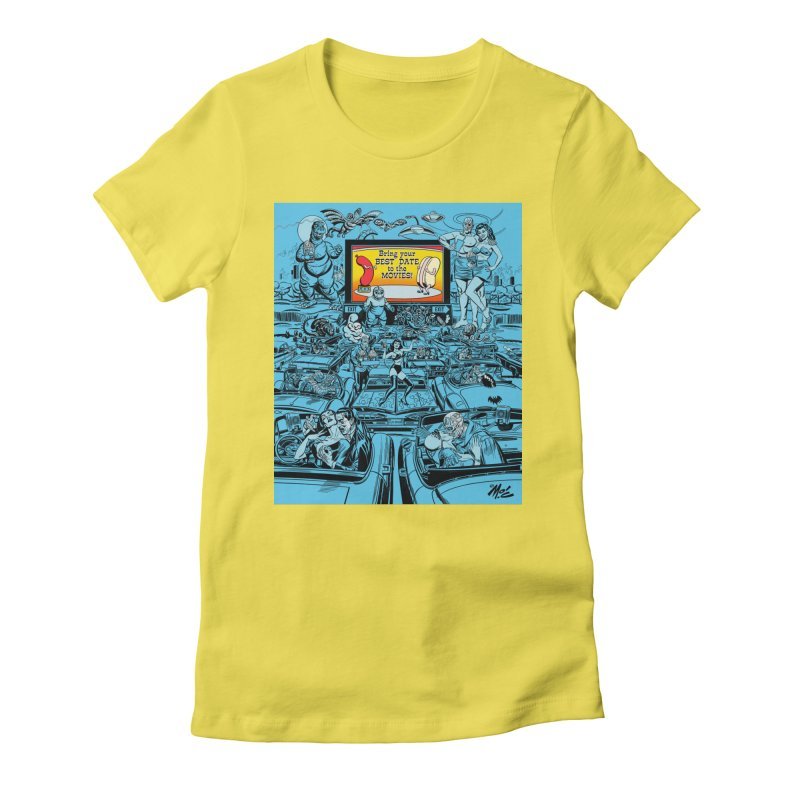 Take Your Best Date to the Movies! Women's Fitted T-Shirt by Mitch O'Connell