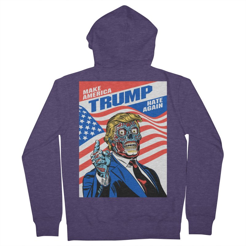 Make America Hate Again! Men's French Terry Zip-Up Hoody by Mitch O'Connell