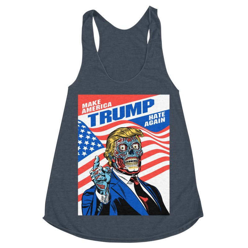 Make America Hate Again! Women's Racerback Triblend Tank by Mitch O'Connell