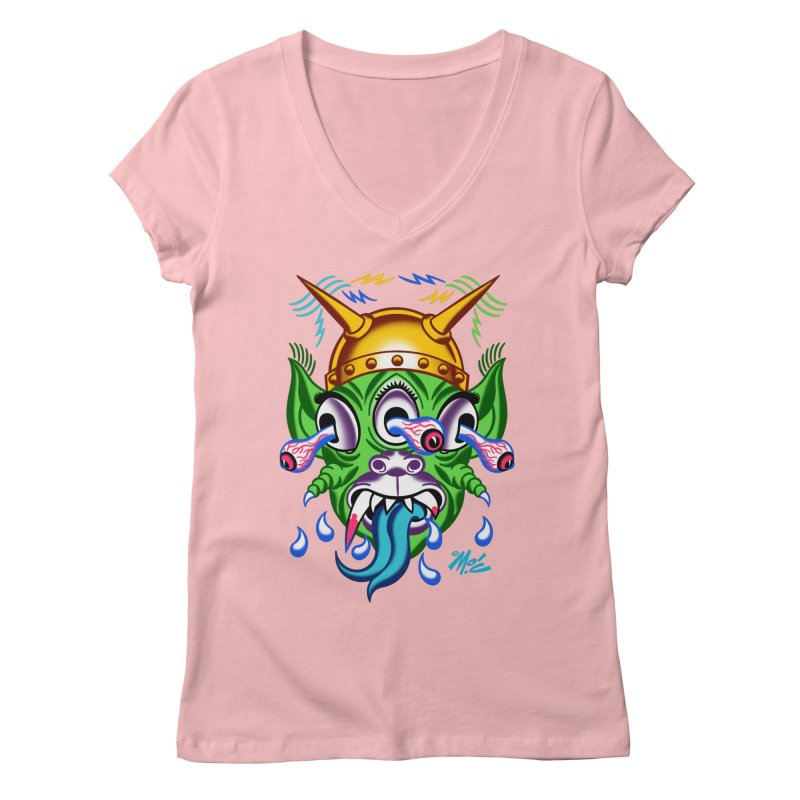 """'Leave it to Beaver' Monster Shirt! """"Beaver"""" version! Women's Regular V-Neck by Mitch O'Connell"""