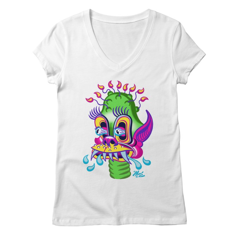 """'Leave it to Beaver' Monster Shirt! """"Alan"""" version! Women's Regular V-Neck by Mitch O'Connell"""