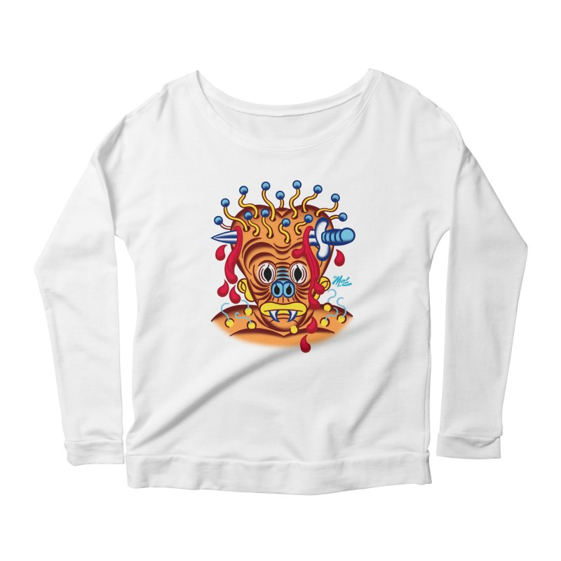 """'Leave it to Beaver' Monster Shirt! """"Whitey"""" version! Women's Scoop Neck Longsleeve T-Shirt by Mitch O'Connell"""