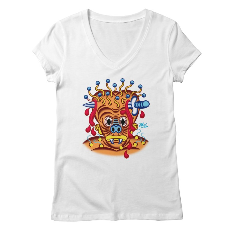 """'Leave it to Beaver' Monster Shirt! """"Whitey"""" version! Women's Regular V-Neck by Mitch O'Connell"""