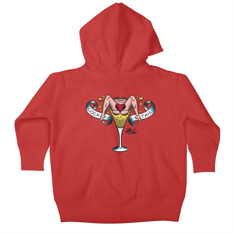 """Beefcake Buddies- """"Cock Tail""""! Kids Baby Zip-Up Hoody by Mitch O'Connell"""