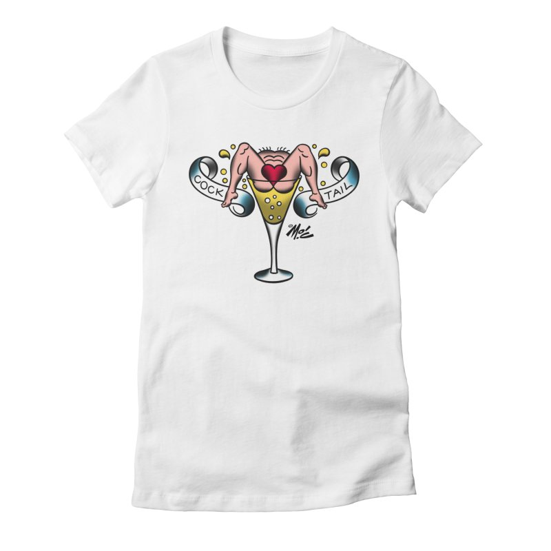 """Beefcake Buddies- """"Cock Tail""""! Women's Fitted T-Shirt by Mitch O'Connell"""